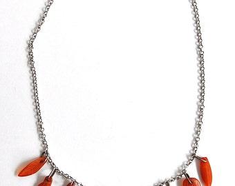 Vintage Bakelite Look Leaf Necklace