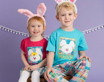 Boy Girl Easter Sibling Shirts - Easter Bunny Box Shirt with Embroidered Name - M41