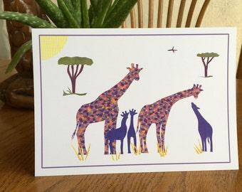 Giraffe Card, Giraffe Family, Baby Giraffe, Animal Card, African card, cut paper art, baby greeting card, nursery, kids, african art