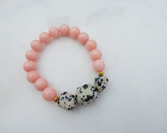 Coral Jade and Dalmatian Jasper Stretch Bracelet / Gemstone Stretch Bracelet / Stretch Bracelet