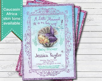 Mermaid baby shower invitation. Vintage baby girl couple baby shower. Purple Under the sea turquoise aqua glitter retro digita invite B213