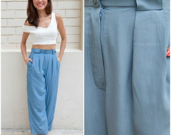 1970 Vintage Pants/ Pastel Blue Pants/ XS Pants/ Small Pants/ XS Trousers/ Blue Trousers/ Small Trousers/ Japanese Vintage/ Japanese Pants