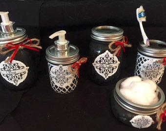 Black & White Mason Jar Bathroom Set