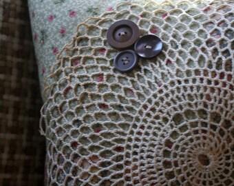 Cottage Chic Pillow, Patchwork Pillow, Vintage Doily, Antique Buttons, Decorative Pillow, Home Decor