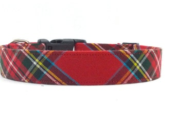 Classic Look Red Tartan/Plaid Dog Collar