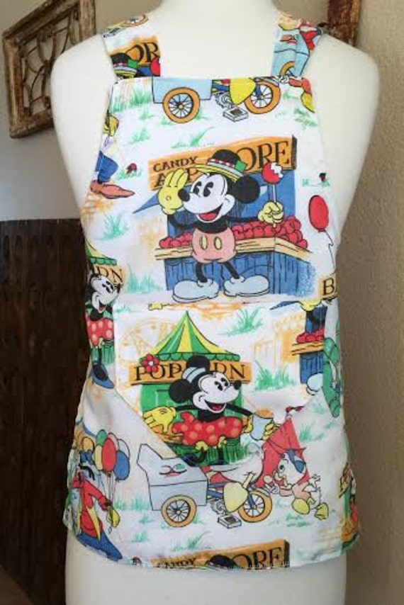 Disney print apron vintage fabric child size by rehemmedaprons for Vintage childrens fabric prints