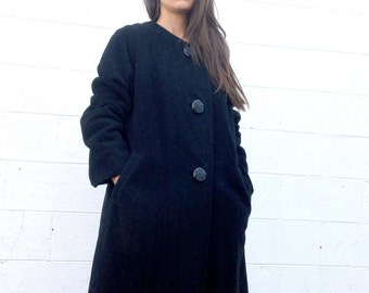 Collarless Black Wool 1960's Swing Coat with Pockets! Gorgeous and Excellent Condition