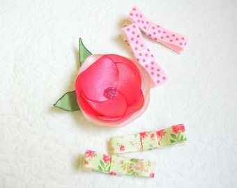 Baby non-slip clips Baby hair clips floral Toddler hair clips Pink hair clip Floral hair clips Dotted hair clips Baby gift Gift for toddler
