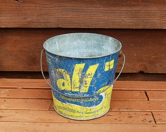 All Laundry Soap Pail, Vintage Galvanized Bucket, Old Advertising Graphics, All Detergent Can, Cooler Bucket