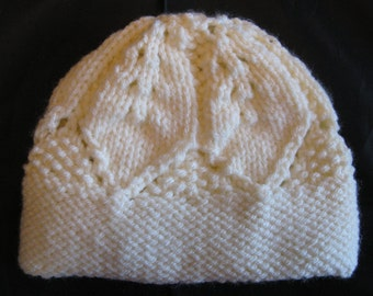 Cream Aran Hat for a 0 to 6 month old baby approx. Brand New ,Handmade, Hand Knitted
