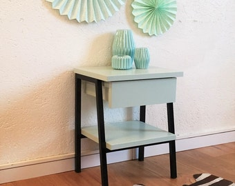 Mid century Bedside table, night table, nightstand, mid century modern, vintage, green color, model Alice