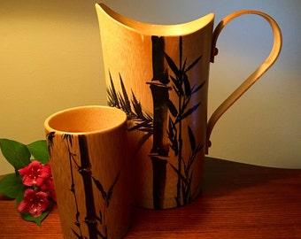 Vintage bamboo pitcher and cup made in Japan