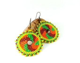 Hoop earrings Beaded earrings Boho earrings Seed bead earrings Beadwoven earrings Ethnic earrings Beaded hoops Boho style Boho jewelry