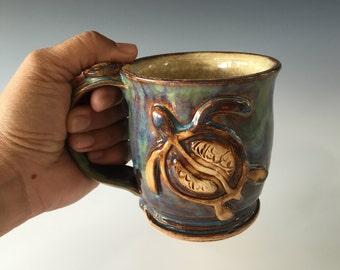 Pottery Coffee Mug, 9-10 fl oz, Stoneware mug, Wheel Thrown coffee mug, Logo mug, Sea Turtle (Honu)