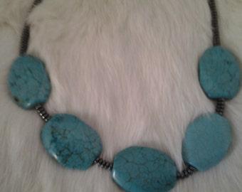 Boho 1970's Handmade Turquoise Magnesite and Hematite Necklace