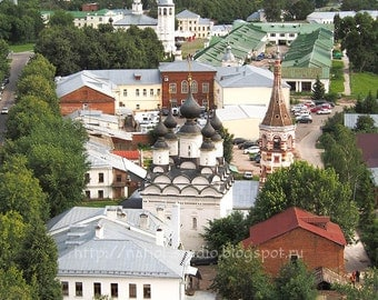 Old urban photo, landscape with bird eye view, city view from church,  church domes, bell tower Old, Russian architecture photography