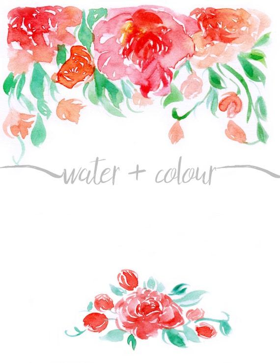 Downloadable watercolor floral border 2