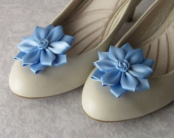 Satin Flower Shoe Clips with Rosettes, Something Blue, 53 Colors Available, Bride, Flower Girl, Bridesmaids, Wedding, Handmade Shoe Jewelry