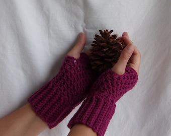 """Crochet Fingerless Mittens, """"Brooklyn Fingerless Mitts"""", adult women"""