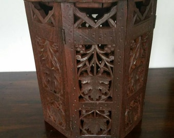 Antique Inlaid Indian Carved Folding Table