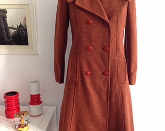 Vintage 60s Long Brown Wool Coat, double Breasted Pea Coat. Size 12