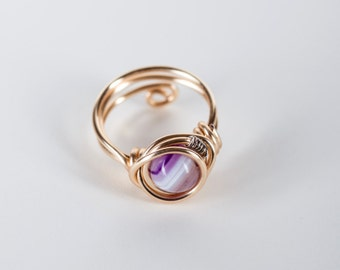 Purple Agate Stone Ring ⊿  Wire Wrapped Ring  ⊿  Any Size ⊿  Adjustable Ring