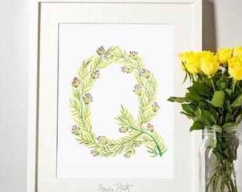 Leafy Letterform Q - A Watercolour Alphabet Series