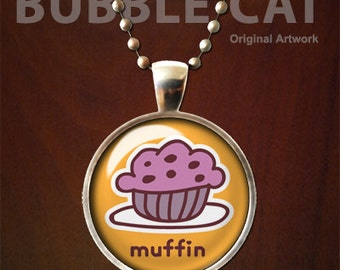 Blueberry Muffin Pendant, Muffin Necklace with Chain