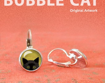Peeking Black Cat Earrings, Peeking Cat with Yellow Eyes