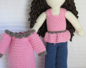 Crochet Doll, Baby Doll, Toy Doll, Amigurumi Doll, Soft Baby Doll, Soft Doll, Baby Doll Clothes, Crochet Clothes, Crochet Baby Doll Clothes