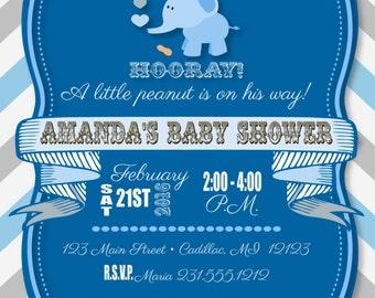Little Peanut Baby Shower Invitation - Elephant Peanut Baby Shower Invitation - Baby Boy Peanut Baby Shower Invitation