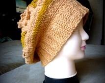 mustard Crochet hat,Womens hat ,Winter fashion accessories,women slouchy hat, Seahawks Hat, knitted hat with beige flowers, Irish lace