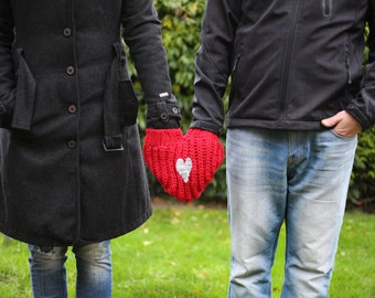 Mitten for him and her, Wedding gift, Couples mitten, Romantic gift, Gift for the couple, Anniversary gift, Heart smitten glove