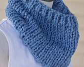 Chunky Blue Scarf - Denim Knit Bulky Scarf for Kids or Adults - Unisex Cowl for Men or Women