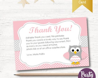Owl thank you cards | Etsy