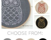 Owl embroidery kit, modern embroidery hoop art, DIY needlecraft, easy embroidery, modern hand embroidery pattern, DIY wall decor