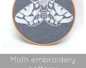 Moth embroidery pattern, moth pattern, modern hand embroidery, DIY embroidery, PDF embroidery pattern, I Heart Stitch Art, iheartstitchart