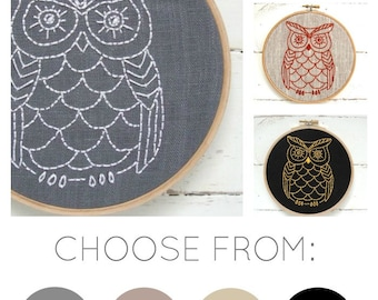 Owl embroidery kit, DIY Embroidery, Hand Embroidery Kit, Embroidery Pattern, Modern Embroidery Kit, DIY Embroidery Kit, Owl Lover, hoop art