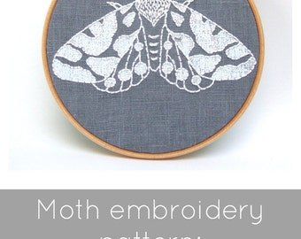 Moth Embroidery Pattern - Digital Download