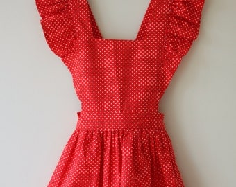 Retro, vintage girls pinafore, jumper, smock cover, dress apron - size 4
