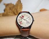 Birds and floral,Vintage Bird watch,wrist watch, women Watch, Leather Watch