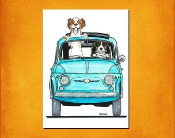 Fiat 500 with Cavalier King Charles Spaniel's   Art print / Greetings card