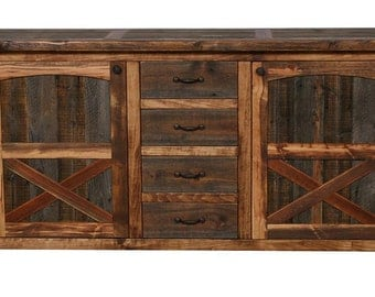 Rustic Sideboard, Natural Barn Wood Sideboard, Barn Style Sideboard, Wooden Sideboard