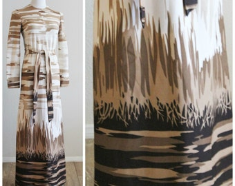 Vintage 60's DYNASTY Hong Kong Mod Abstract Camo Knit Maxi Column Dress