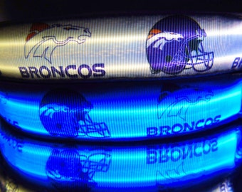 White Denver Broncos dog collar w/ LED light; NFL football w/ blue, orange, pink, or rainbow lights flash, blink, & glow in dark
