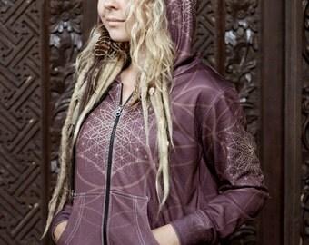 BLOOMING Flower of life Women's Hoodie sweatshirt / festival hoodie / flower of life hoodie / sacred geometry hoodie / gift for her /Maroon