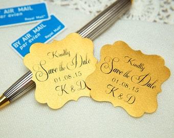 Old Gold Printed Save The Date seals. Custom printed Wedding stickers. personalised Pearlised Envelope seals. Vintage Wedding favours
