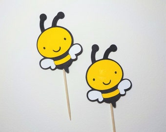 Bumble Bee Cupcake Toppers Qty 12 Baby Shower 1st Birthday Garden Party