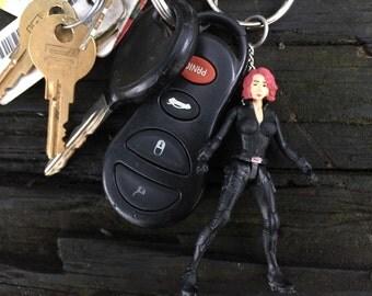 Marvel Avengers Black Widow Mini-Figure Key Chain With Custom Gift Box