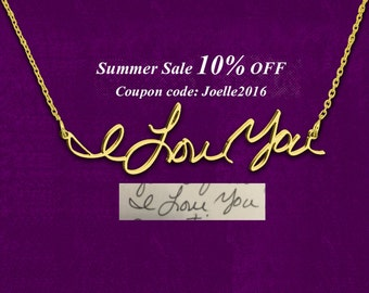 Personalized Signature Necklace, Handwriting Necklace, Your Handwriting Jewelry, 18k Gold plated on 925 Sterling Silver